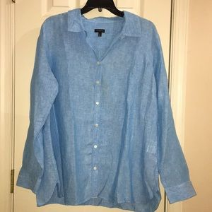 Talbots light blue button down collared shirt